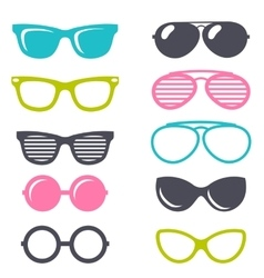 colorful cartoon retro sunglasses set vector image