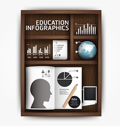 Creative infographics education shelf book box con vector