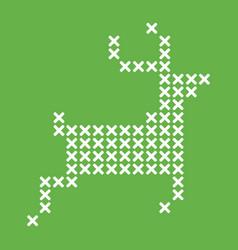 cross stitch running reindeer vector image