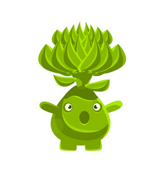 Cute surprised succulent emoji cartoon emotions vector