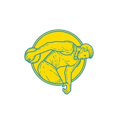 Discus throw athlete side circle mono line vector