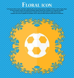 Football icon Floral flat design on a blue vector image vector image