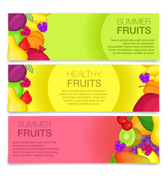 fruits concept banners cartoon style vector image vector image
