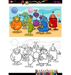 funny aliens cartoon coloring book vector image vector image