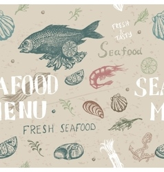 hand drawn seafood pattern vector image