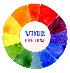 Handmade color wheel isolated watercolor spectrum vector