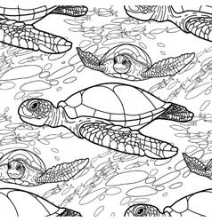 Hawksbill sea turtle pattern vector