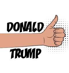 Human hand supporting donald trump vector