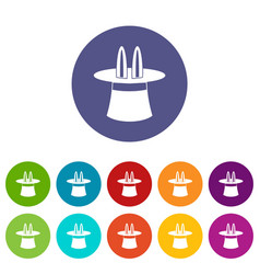 Magic hat set icons vector
