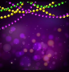 Mardi gras bead garlands and bokeh card vector