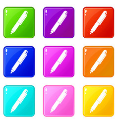 Marker pen icons 9 set vector