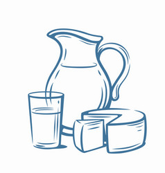 Milk products with glass vector