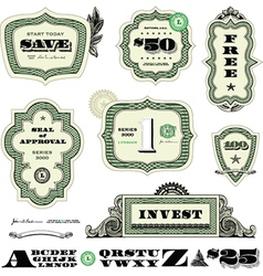 Money and numbers set vector image vector image