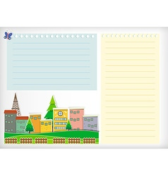 Paper design with buildings vector image