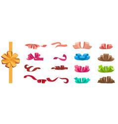 present decorations bow and ribbon holiday set vector image
