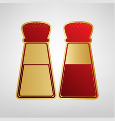 Salt and pepper sign red icon on gold vector
