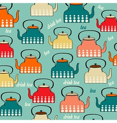 Seamless pattern with vintage Kettles vector image vector image