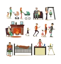 Set of family concept design elements vector