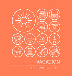 set of icons for vacation theme think line style vector image
