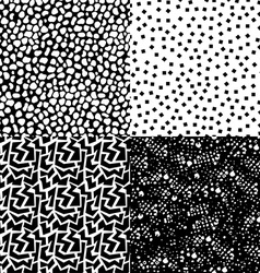 Set of retro seamless pattern in black and white vector image vector image
