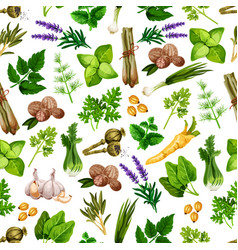 spices and herbs seamless pattern vector image vector image