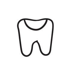 Tooth decay sketch icon vector