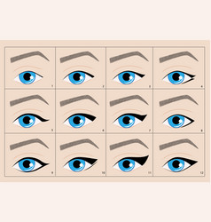 Types of permanent makeup eyeliner arrow vector