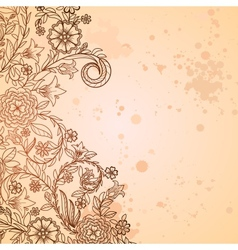 Vintage grungy background with doodle flowers vector image vector image