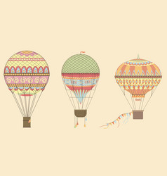 Vintage hot air balloons in sky vector