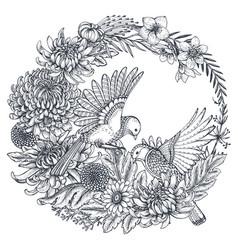 Wreath with hand drawn chrysanthemum vector