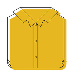 Yellow watercolor silhouette of man shirt folded vector
