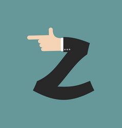 Z letter businessman hand font it shows finger vector