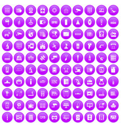 100 hardware icons set purple vector