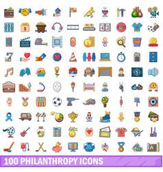 100 philanthropy icons set cartoon style vector image