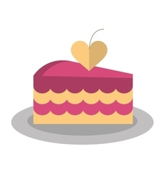 Delicious pink cake with love heart vector