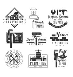 Plumbing And Repairing Service Black And White vector image