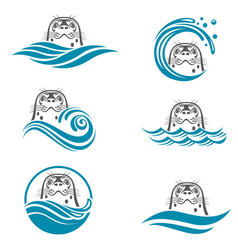 Abstract seal icons set vector