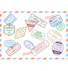 travel stamps set on mail envelopes background vector image