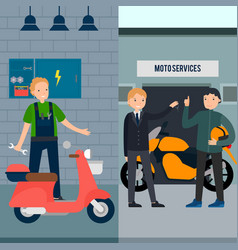 People in moto service vertical banners vector