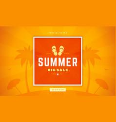 summer sale banner online shopping on beach vector image