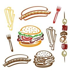 Hamburger hotdog fries vector