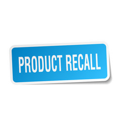 Product recall square sticker on white vector