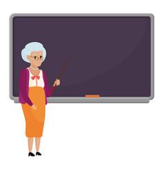Cartoon old female teacher standing in front of vector