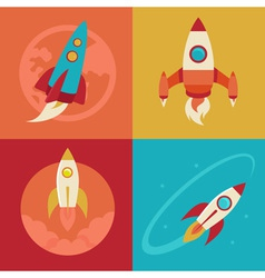 icons in flat style - start up and launch vector image