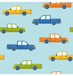 Seamless pattern with pickup cars vector