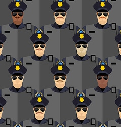 Police officers seamless pattern police stand vector