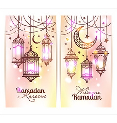 Ramadan kareem islamic background lamps for vector