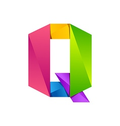 Q letter one line colorful logo design template vector
