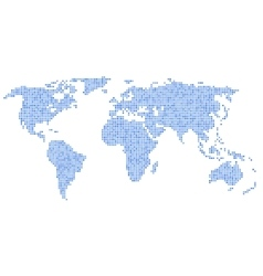 Dotted blue world map on white background vector