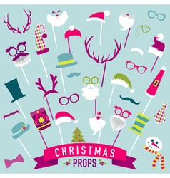 Christmas retro party set - photo booth props vector